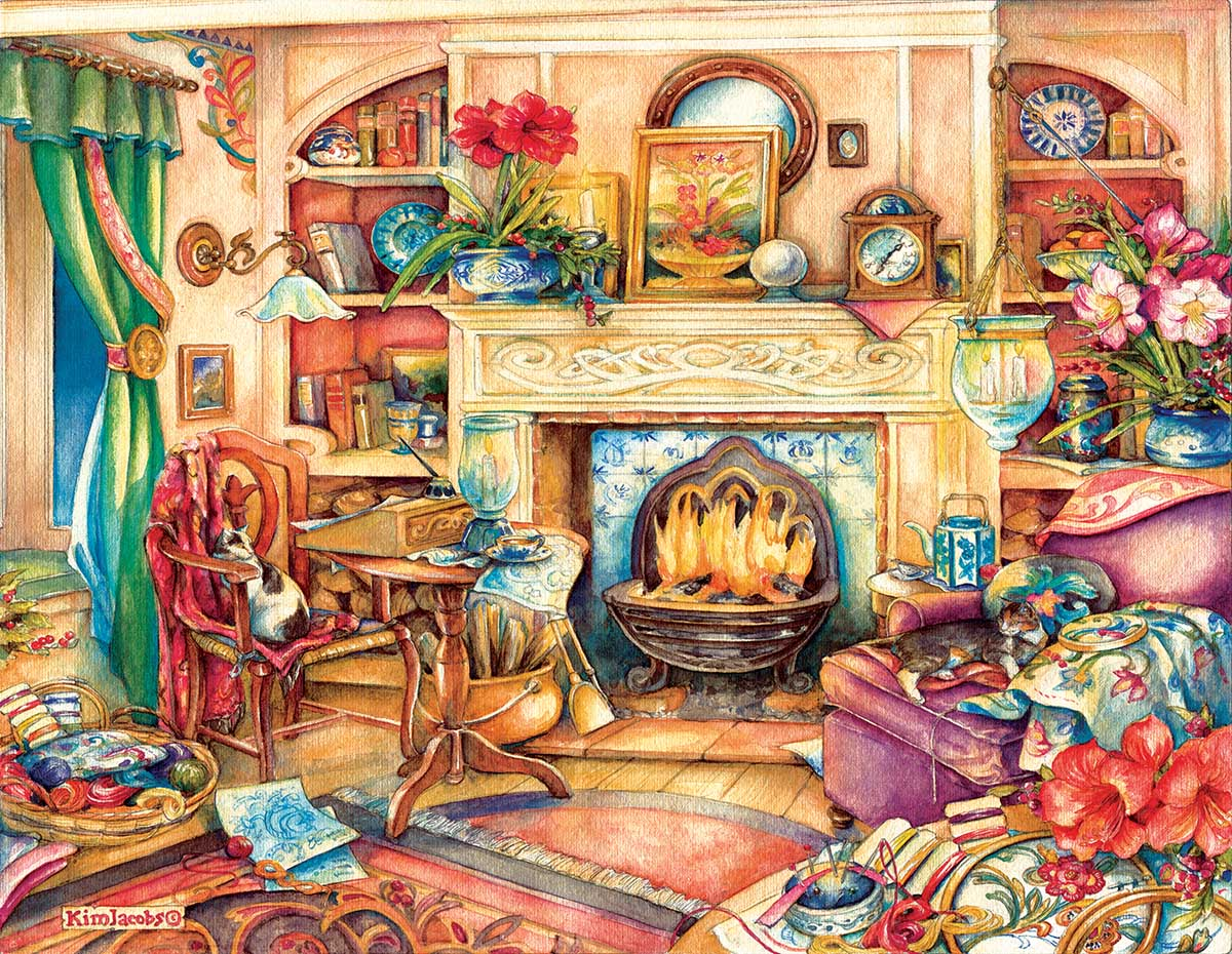 Fireside Embroidery Domestic Scene Jigsaw Puzzle
