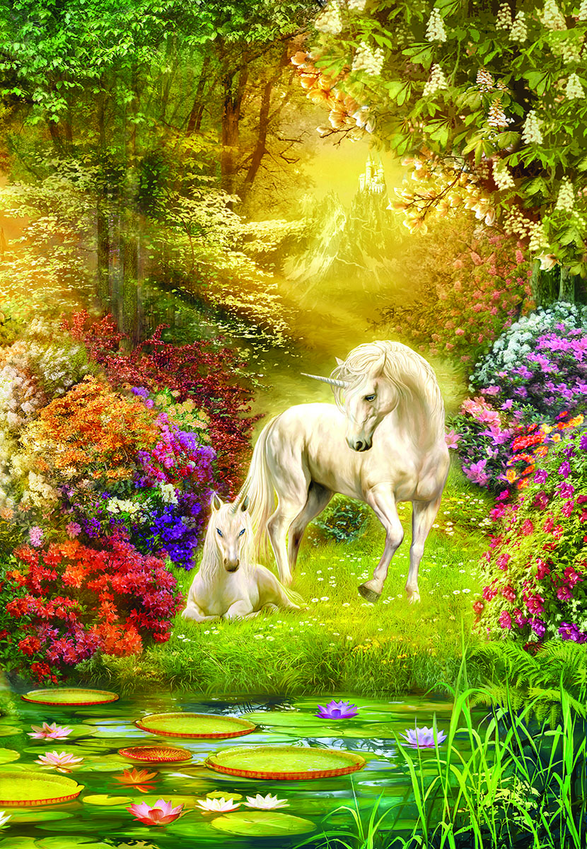 Enchanted Garden Unicorns Fantasy Jigsaw Puzzle