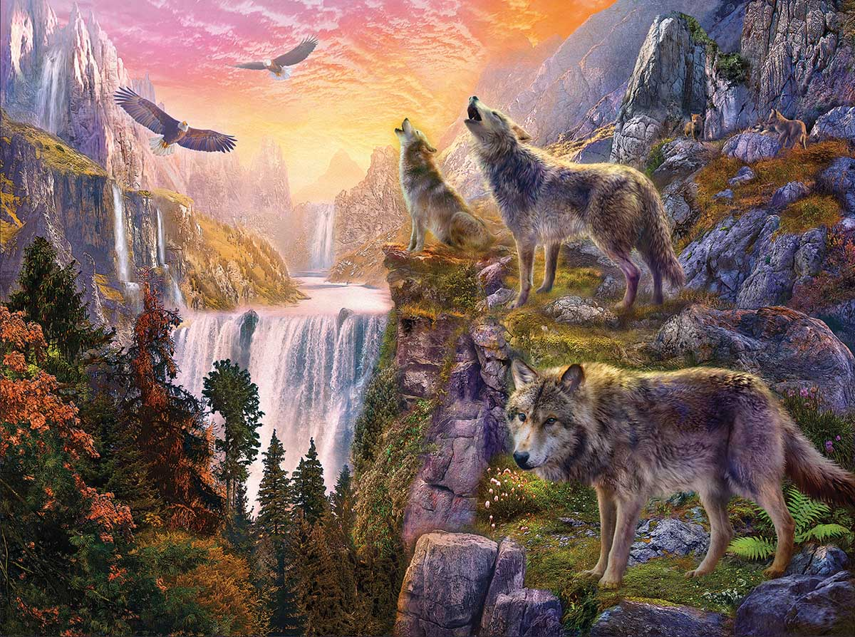 Wolf Moon Wolves Jigsaw Puzzle