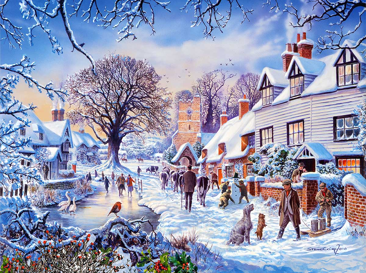 A Village in Winter Christmas Jigsaw Puzzle