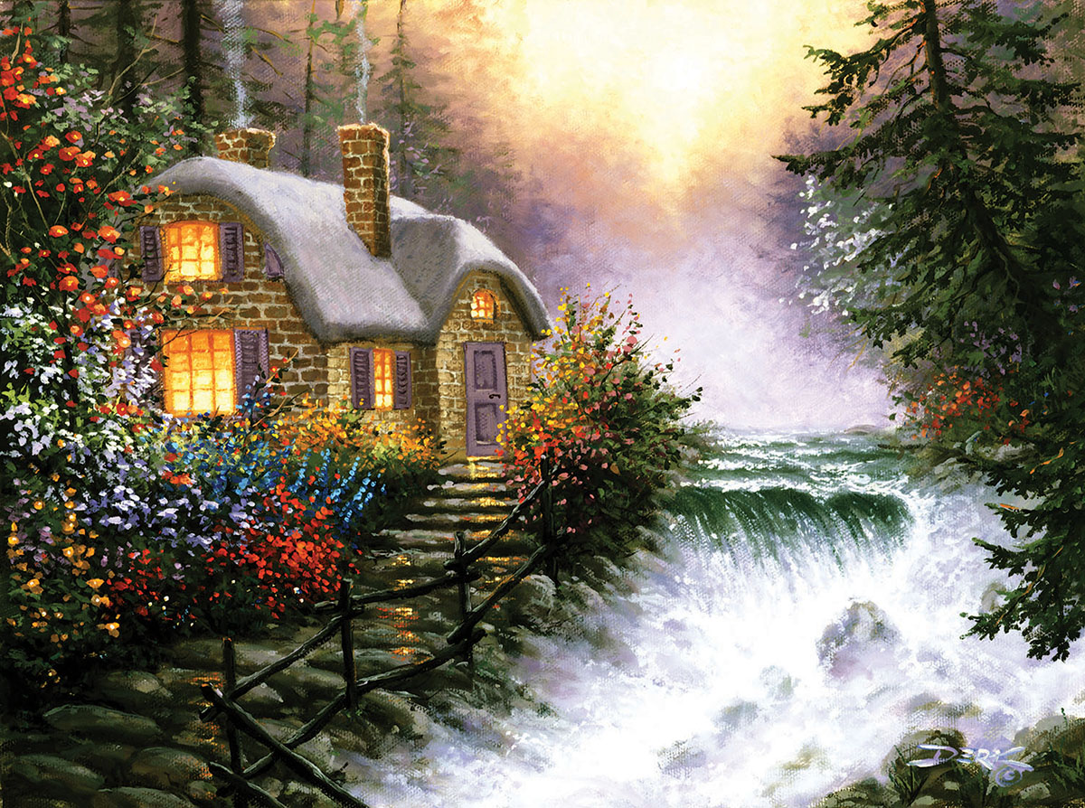 Rivers Edge Cottage / Cabin Jigsaw Puzzle