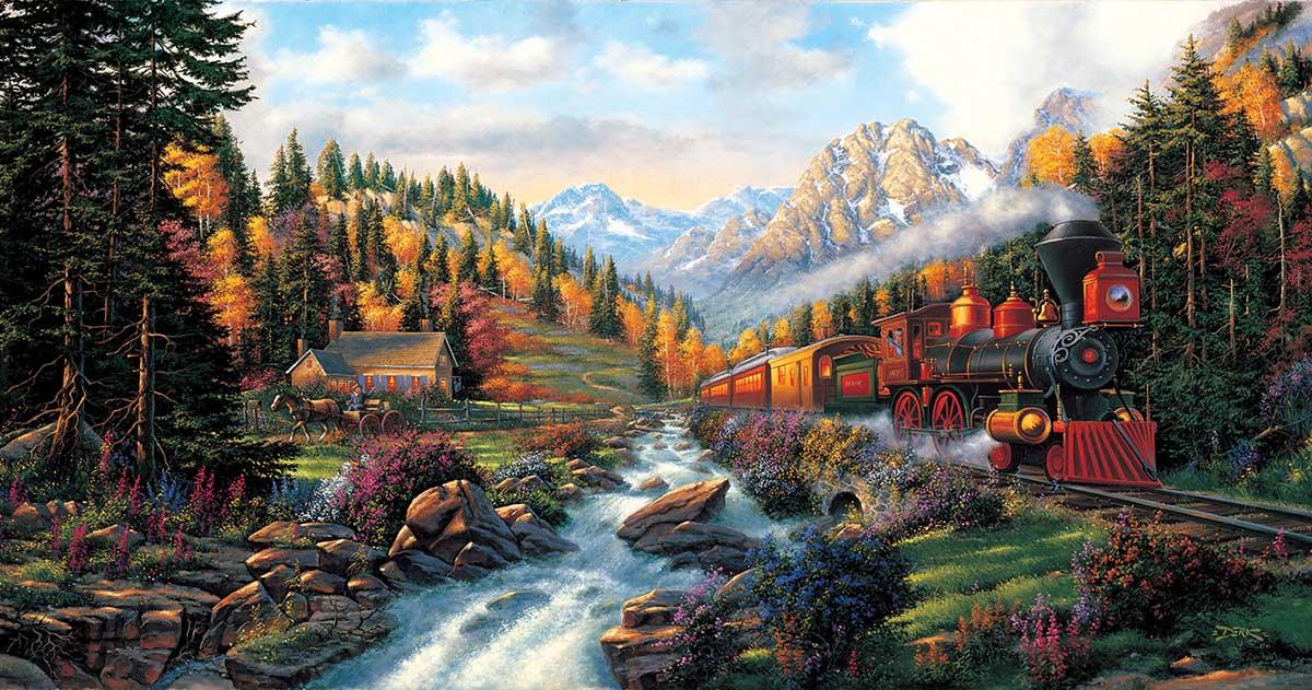 Autumn Run Mountains Jigsaw Puzzle
