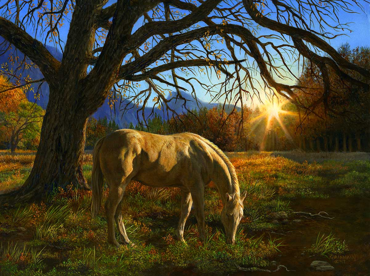 Pastoral Sunset Horses Jigsaw Puzzle