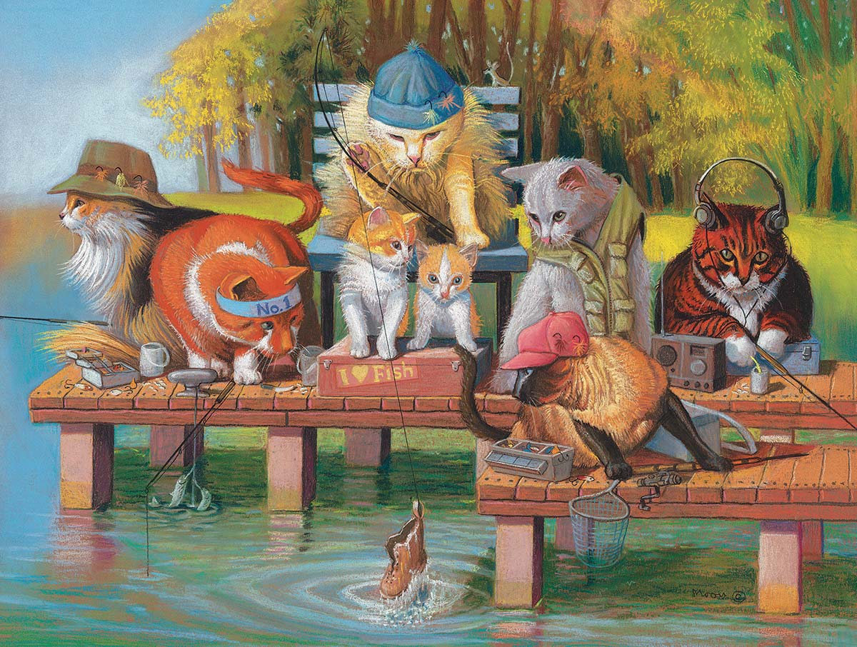 Fishing on the Dock Cats Jigsaw Puzzle