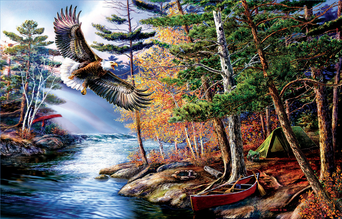 Freedom Waters Eagles Jigsaw Puzzle