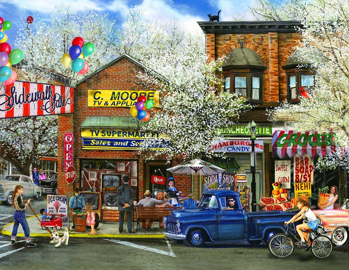 Afternoon on Mainstreet Street Scene Jigsaw Puzzle