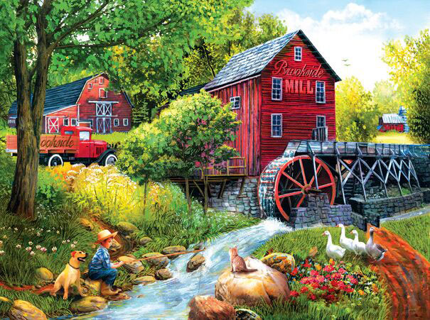 Playing Hookey at the Mill Countryside Jigsaw Puzzle