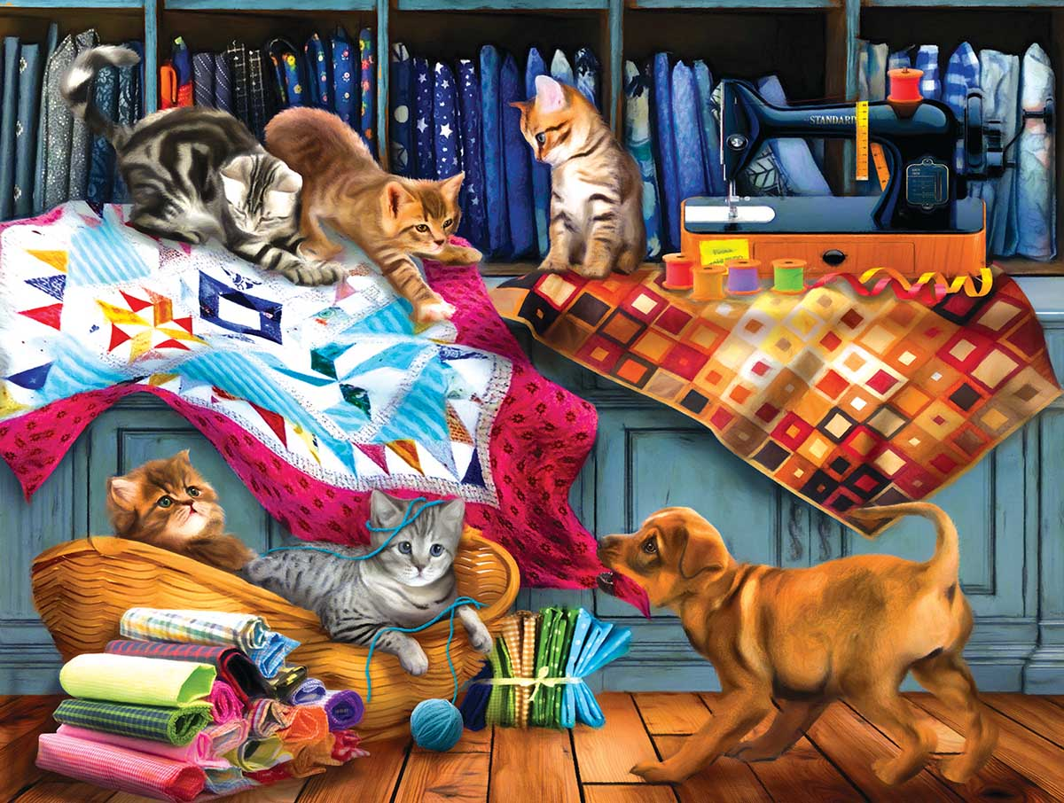 Quilting Room Mischief Cats Jigsaw Puzzle