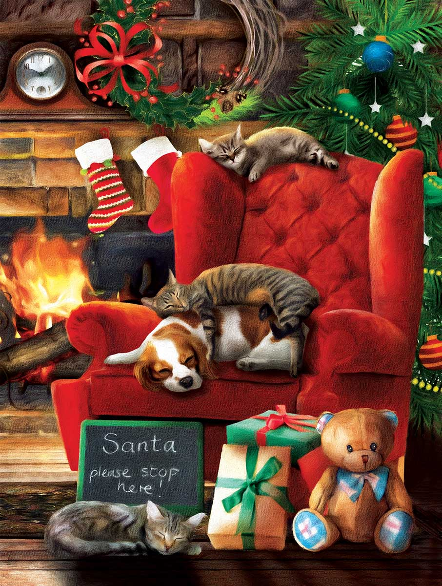 Santa Stop Here Cats Jigsaw Puzzle