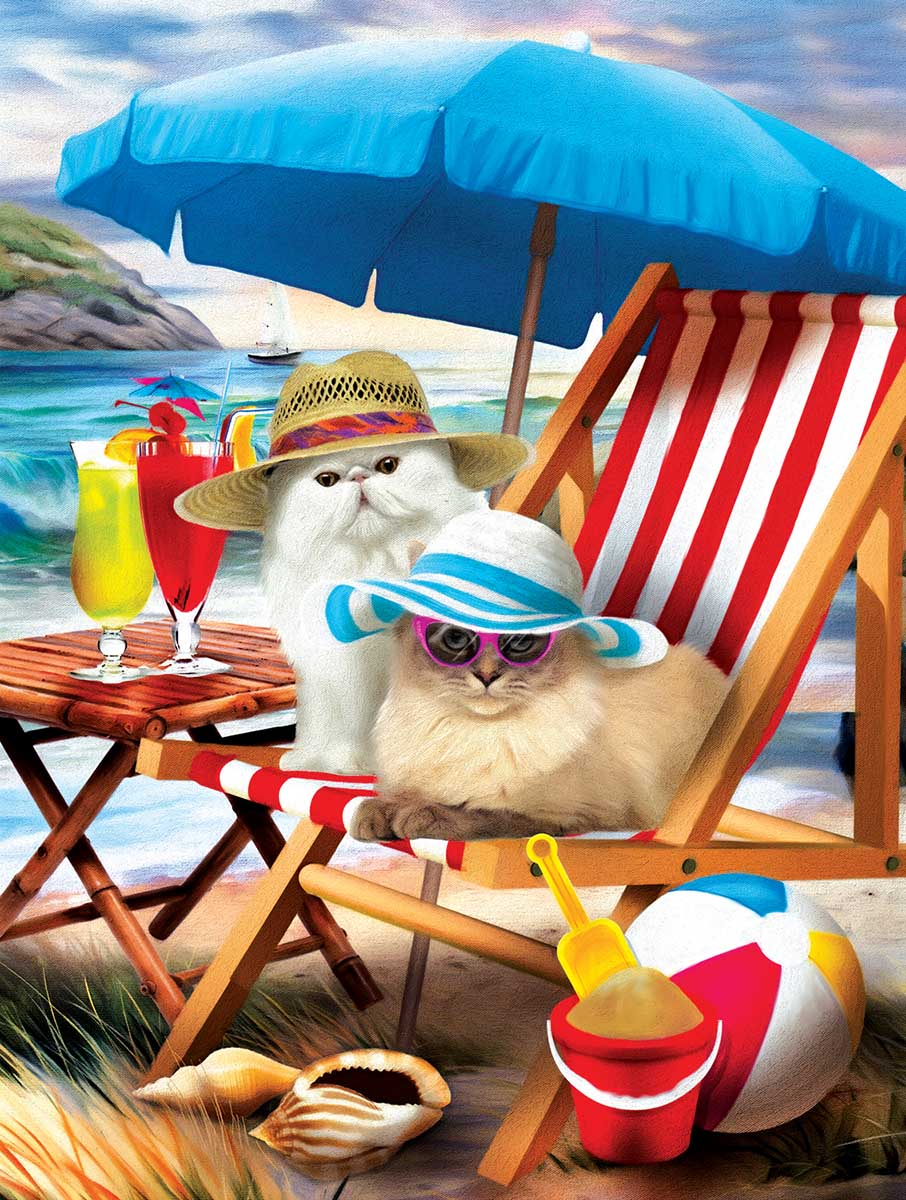 Beach Cats Beach Jigsaw Puzzle