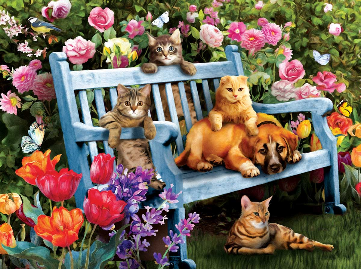 Hanging Out in the Garden Cats Jigsaw Puzzle