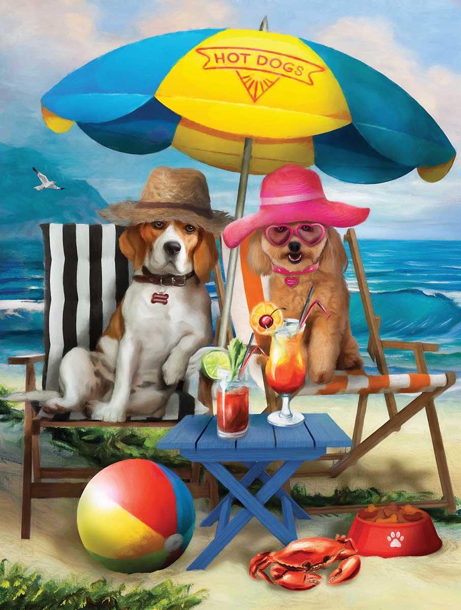 Beach Dogs Beach Jigsaw Puzzle