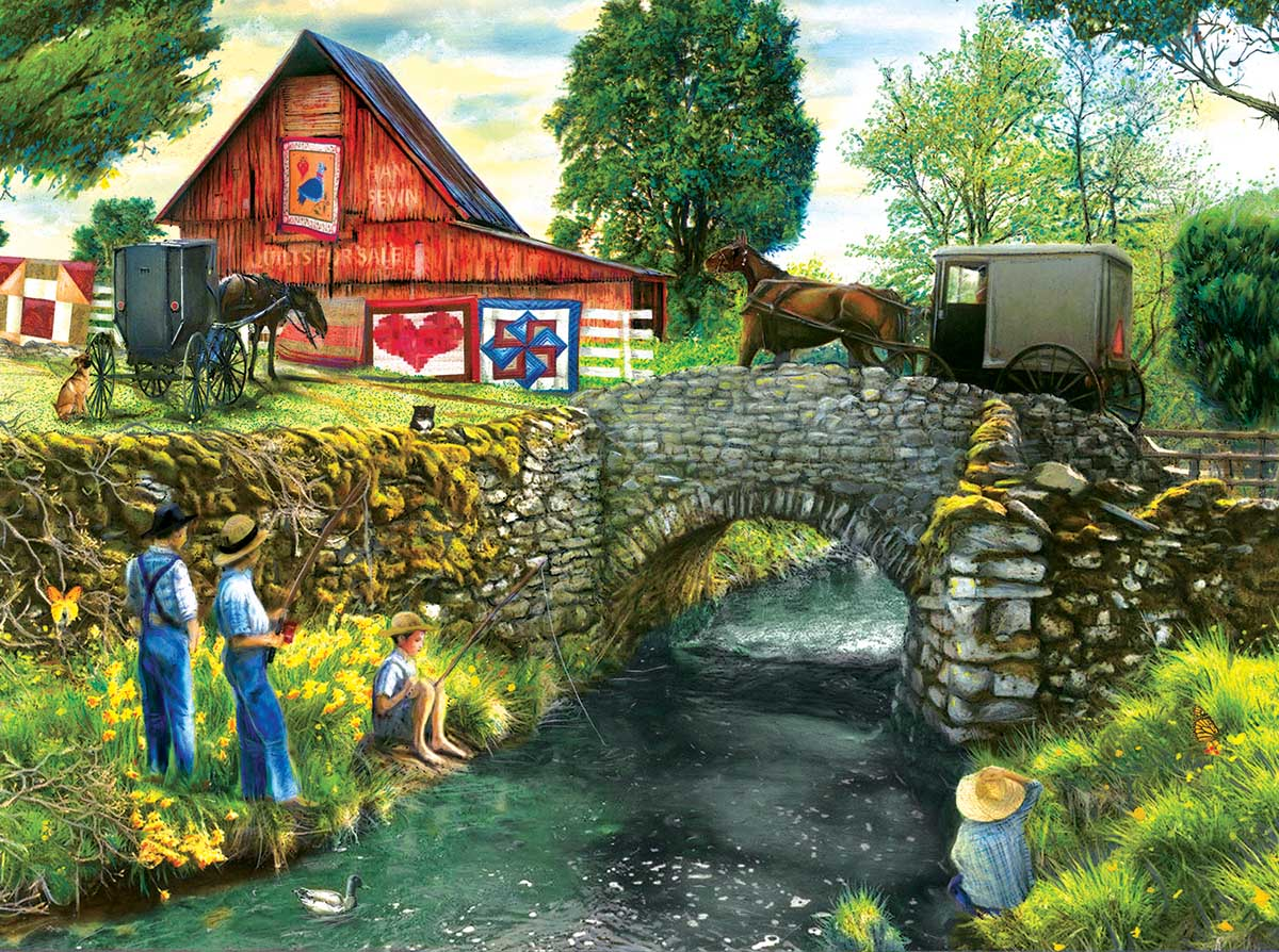Fishing Down by the Stream Fishing Jigsaw Puzzle