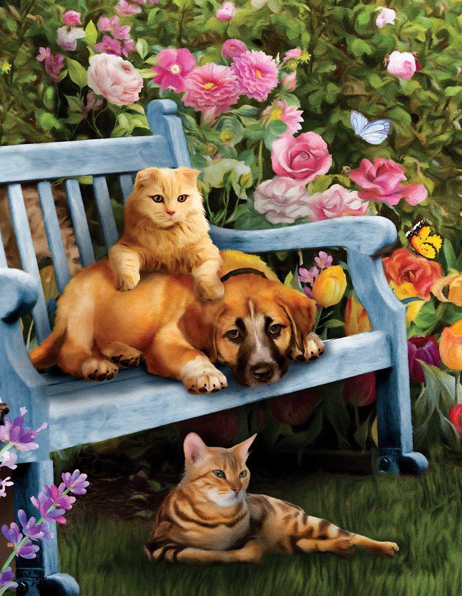 Garden Hangout Cats Jigsaw Puzzle