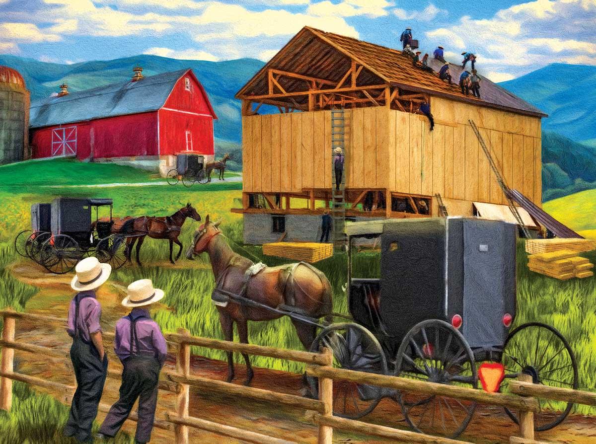 Raising the Barn Farm Jigsaw Puzzle