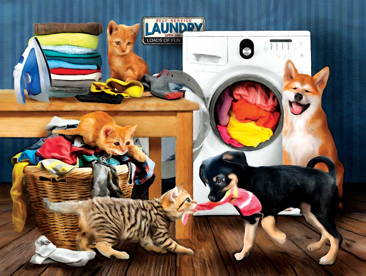Laundry Room Laughs Cats Jigsaw Puzzle