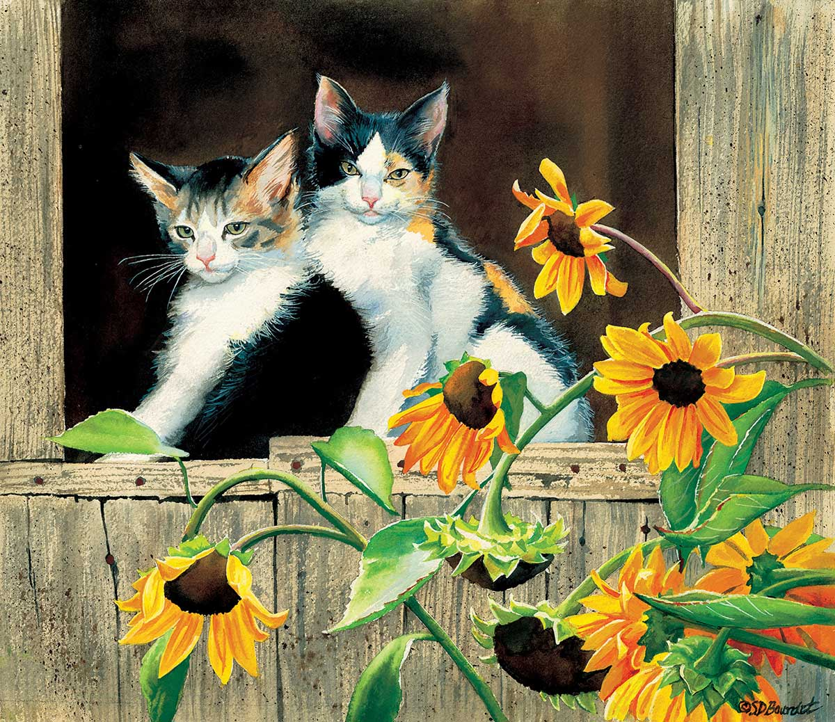 Kittens and Sunflowers Cats Jigsaw Puzzle