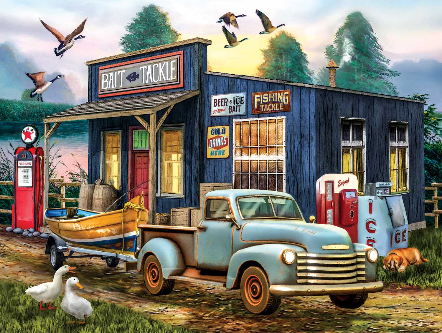 The Early Bird Catchs the Fish Countryside Jigsaw Puzzle