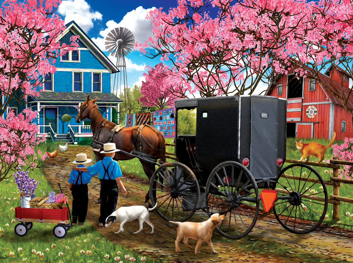 Cherry Blossom Time Countryside Jigsaw Puzzle
