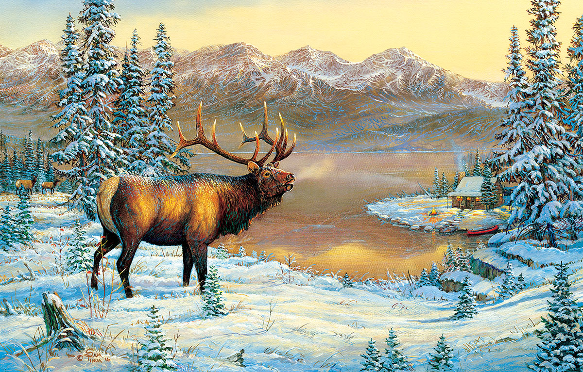 Elk By The Cabin Wildlife Jigsaw Puzzle