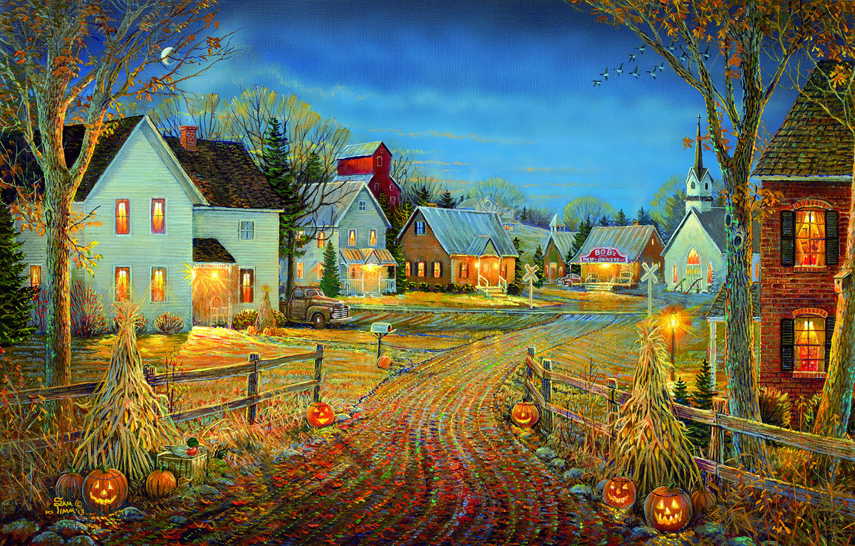 A Country Town in Autumn Fall Jigsaw Puzzle