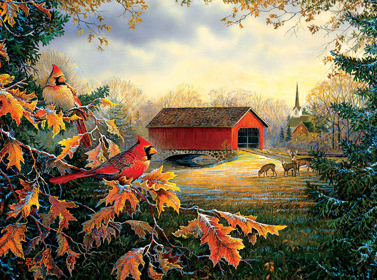 Red River Crossing Countryside Jigsaw Puzzle