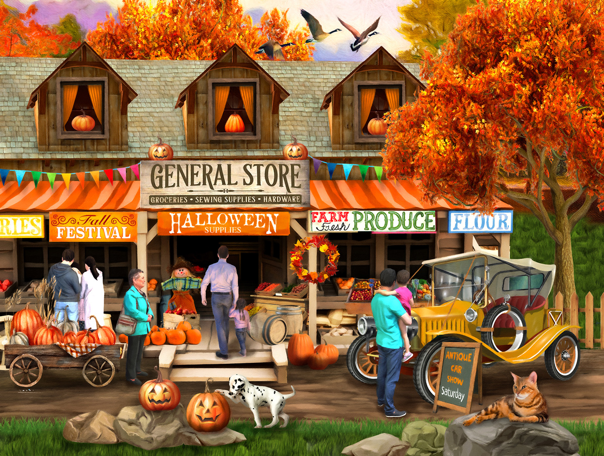 Halloween at the General Store Fall Jigsaw Puzzle
