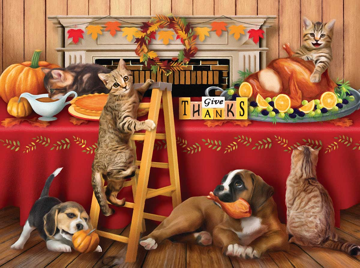 Give Thanks Cats Jigsaw Puzzle