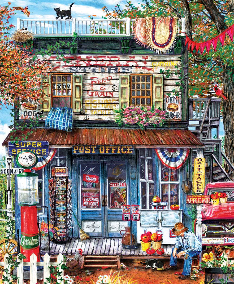 Hanging Out at the General Store Countryside Jigsaw Puzzle