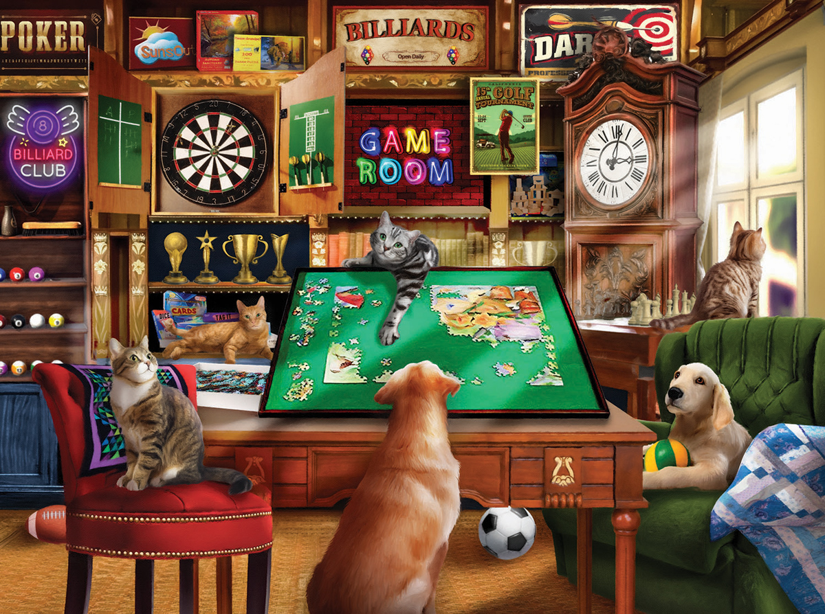 Hanging Out in the Game Room Cats Jigsaw Puzzle