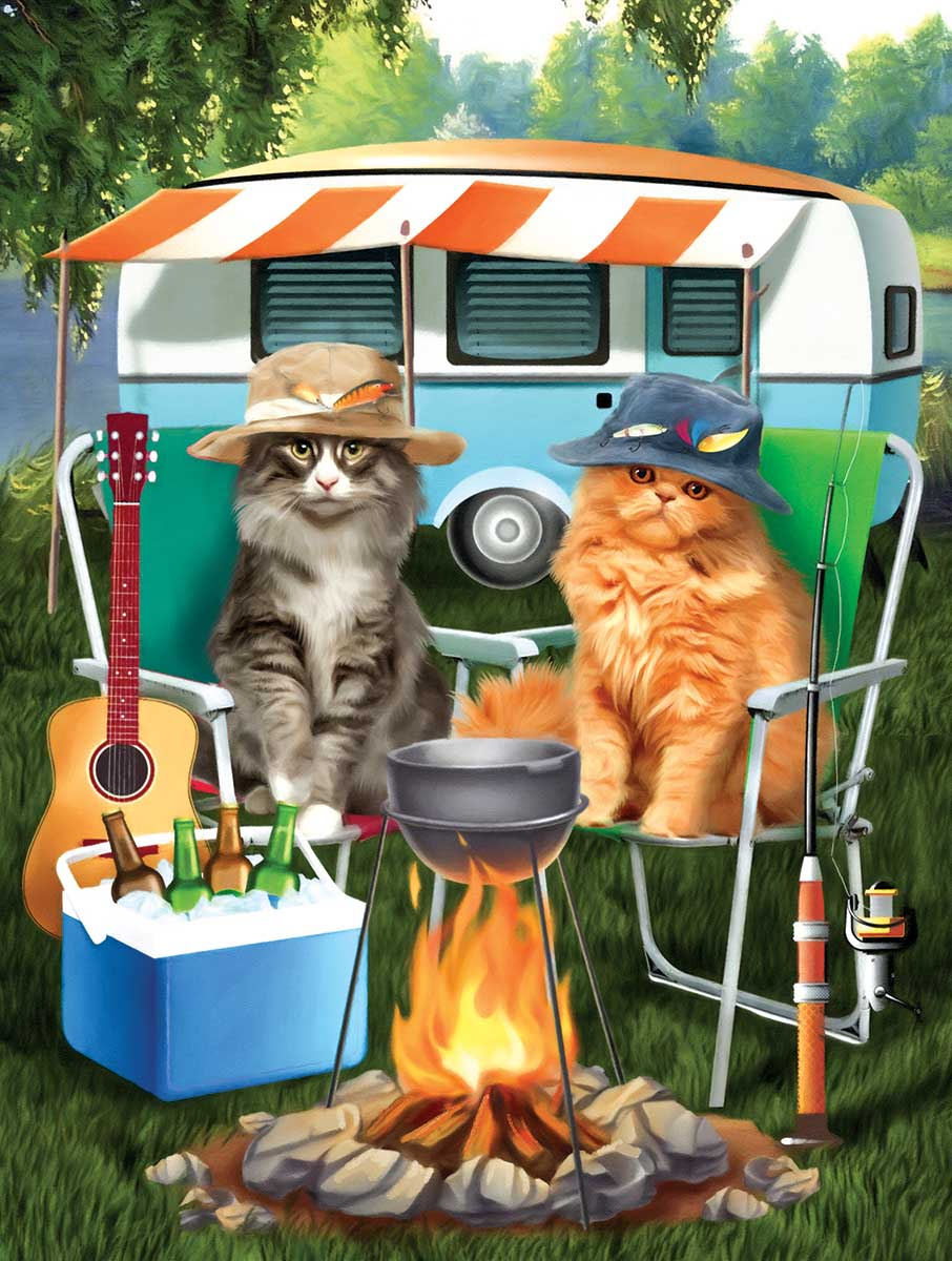 Camping Buddies Cats Jigsaw Puzzle