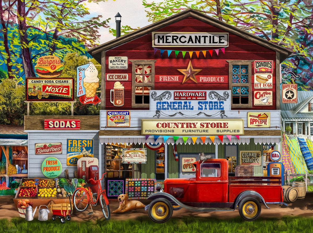 Merchantile Americana & Folk Art Jigsaw Puzzle