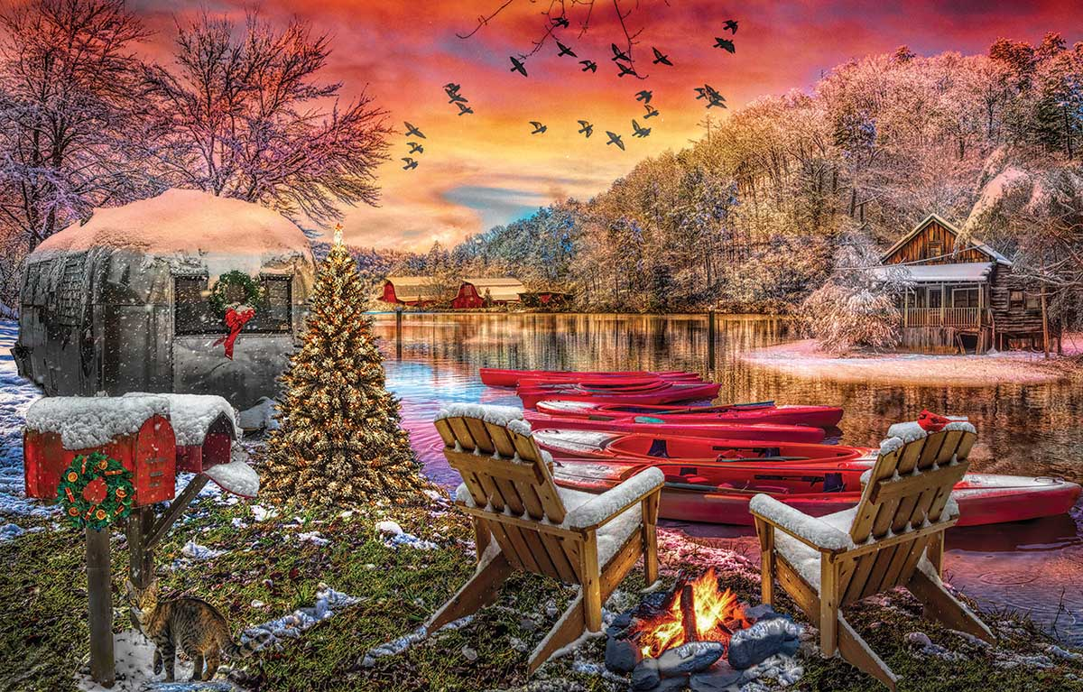 Christmas Eve Camping Christmas Jigsaw Puzzle