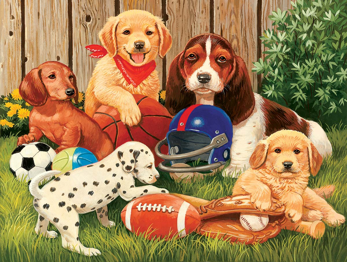Sports Fans Dogs Jigsaw Puzzle