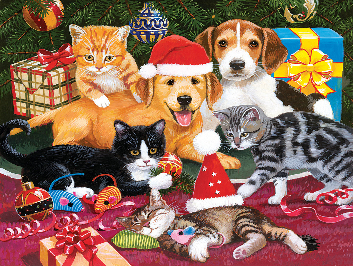 Christmas Meeting Cats Jigsaw Puzzle