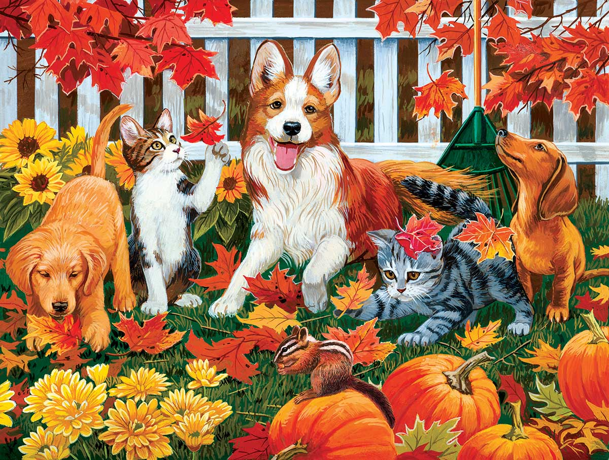 Collecting Fall Leaves Cats Jigsaw Puzzle