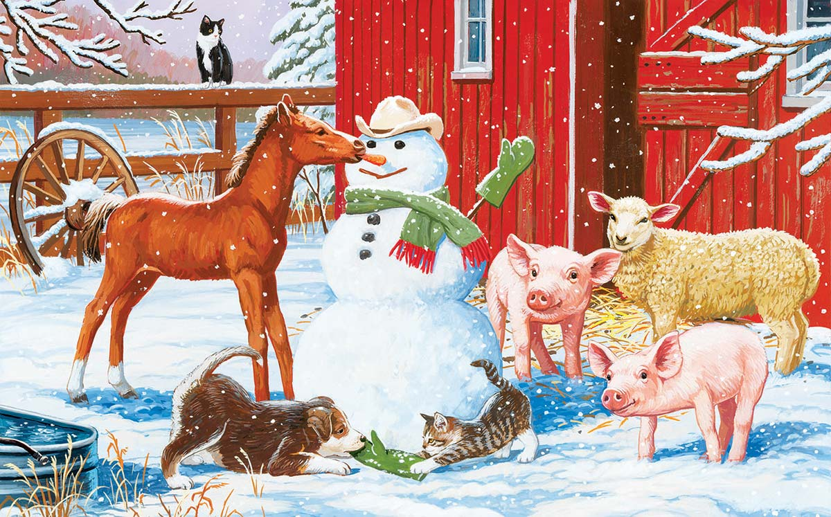 Winter Barnyard Scene Farm Animals Jigsaw Puzzle