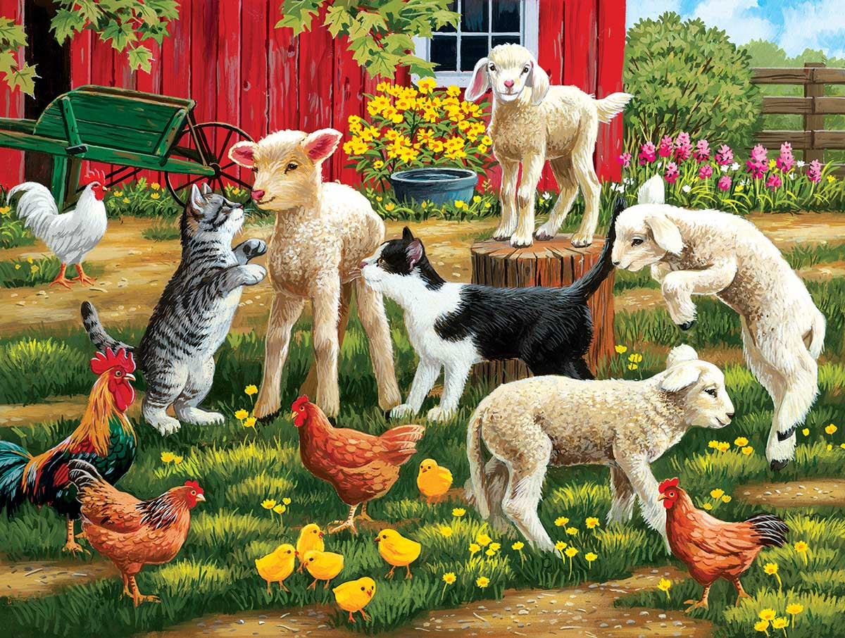 Lambs on the Loose Cats Jigsaw Puzzle