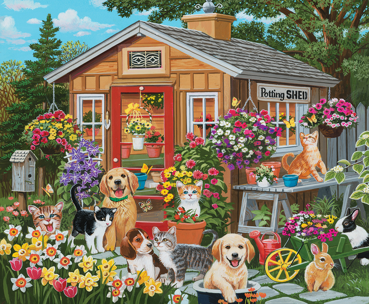 Visiting the Potting Shed Dogs Jigsaw Puzzle