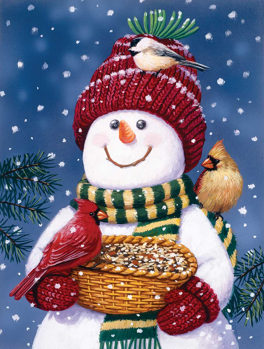 Snowman Bird Feeder Birds Jigsaw Puzzle