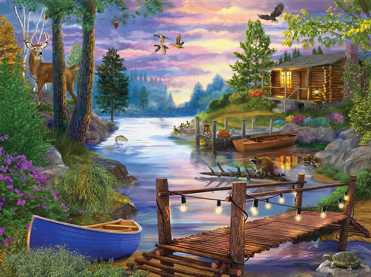 Footbridge Boats Jigsaw Puzzle