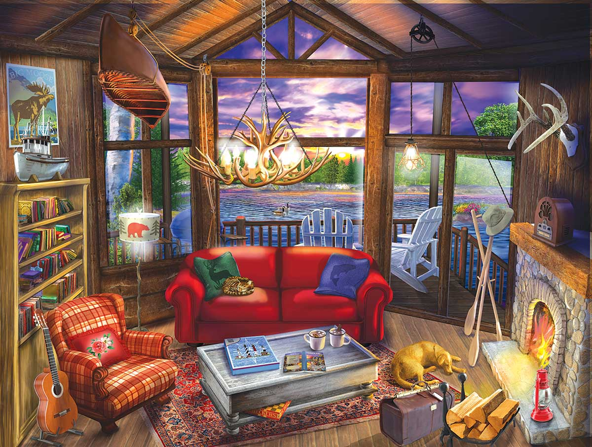 Evening at the Cabin Lakes / Rivers / Streams Jigsaw Puzzle