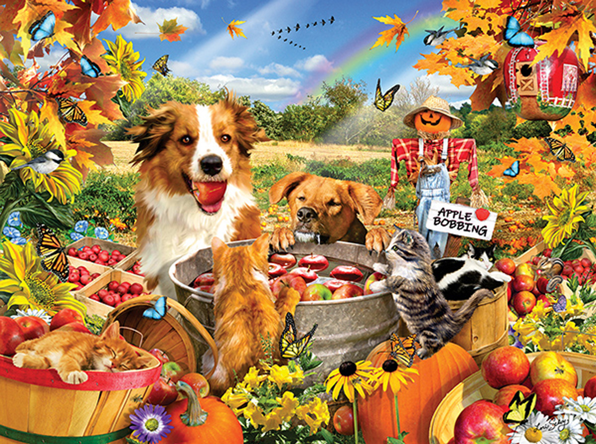 Bobbing for Apples Dogs Jigsaw Puzzle