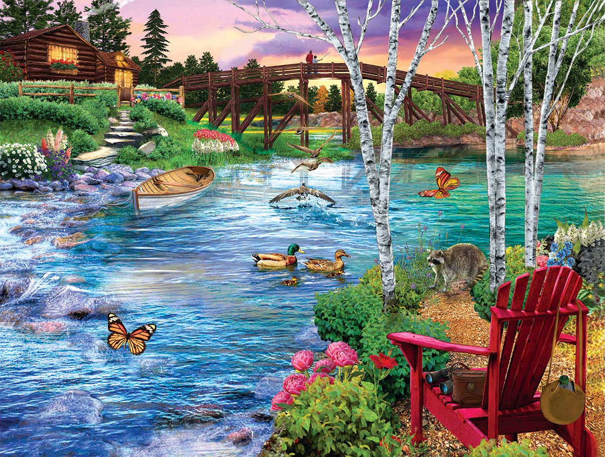 Bridge Fishing Birds Jigsaw Puzzle