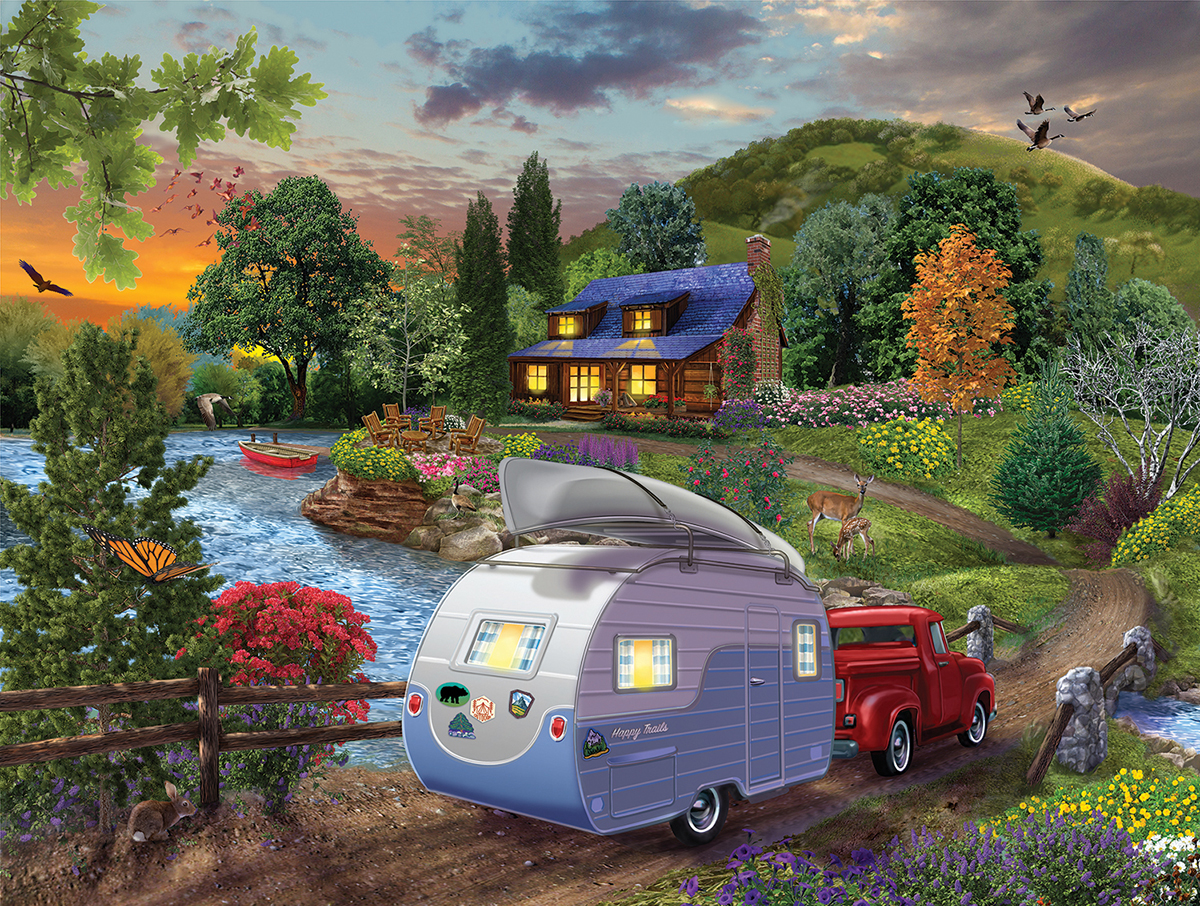 Campers Coming Home Forest Jigsaw Puzzle