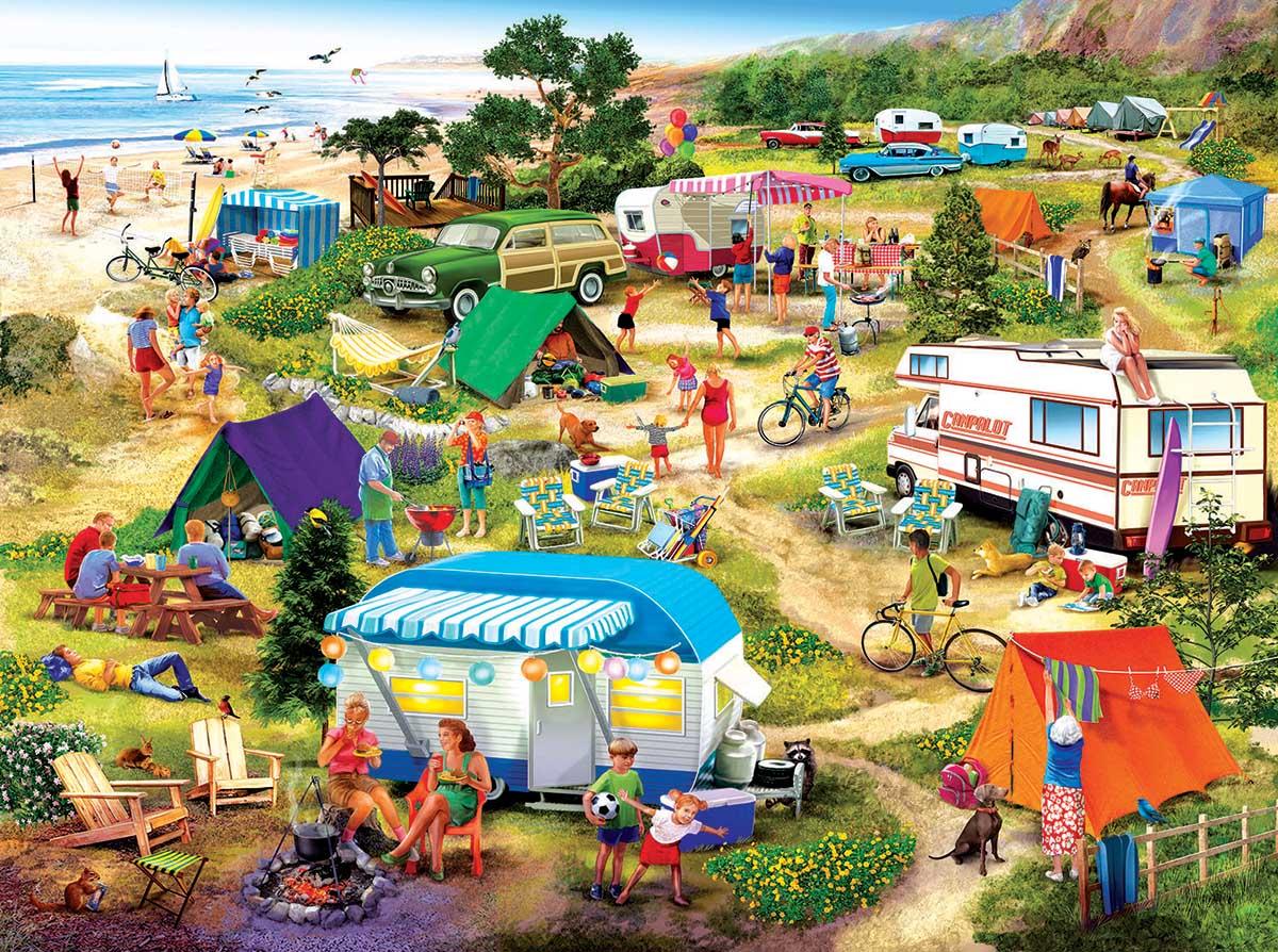 Seaside Campground Beach Jigsaw Puzzle