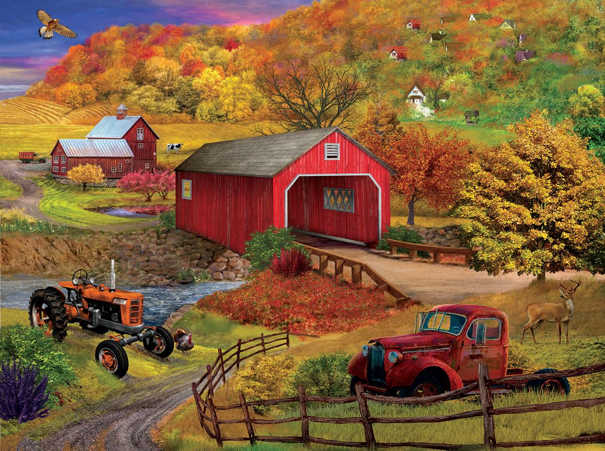 Bridge Crossing Farm Jigsaw Puzzle
