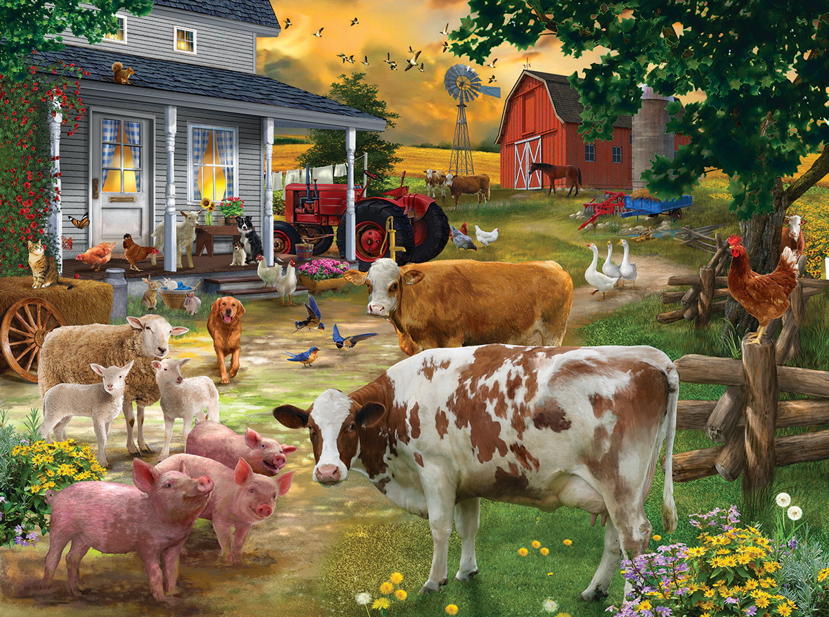 Gathering in the Farmyard Farm Animals Jigsaw Puzzle