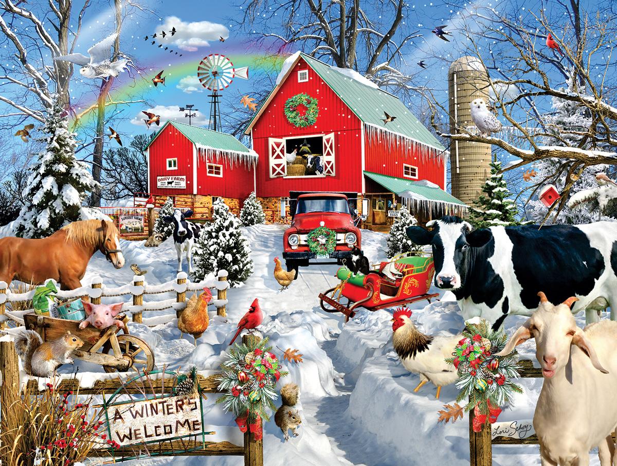 Winter Barn Farm Jigsaw Puzzle