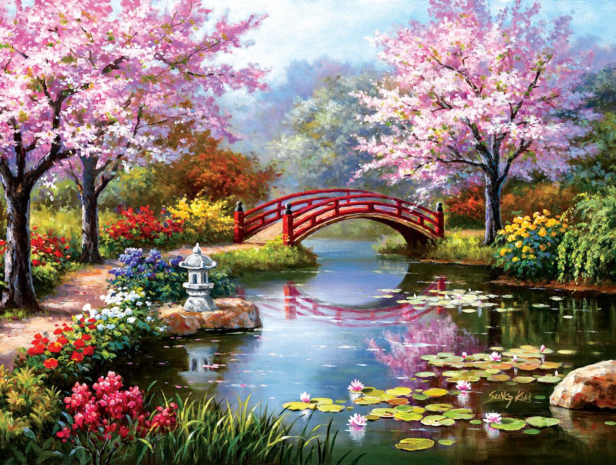 Japanese Garden in Bloom Garden Jigsaw Puzzle